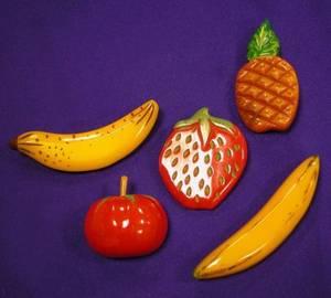 Five Bakelite Fruit Brooches