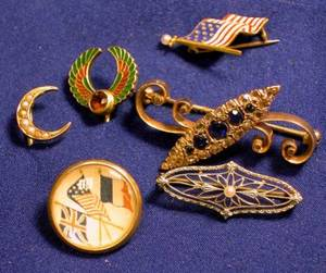 Group of Antique Gemset and Enamel Pins