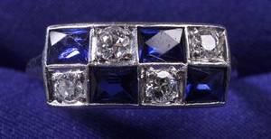 Art Deco Platinum Diamond and Synthetic Sapphire Ring
