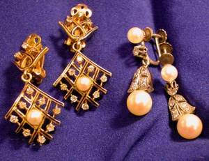 Two Pairs of 14kt Gold Cultured Pearl and Diamond Earpendants