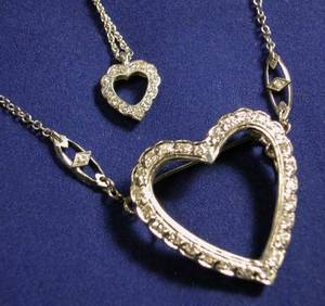 Two 14kt White Gold and Diamond Heart Pendant Necklaces