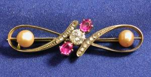 Antique 14kt Gold Diamond Ruby and Pearl Bar Pin