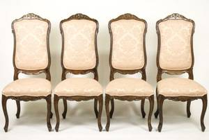 Set of 4 French Provincial Style Oak Side Chairs