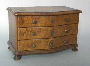 Continental miniature mahogany chest of drawers 19th c
