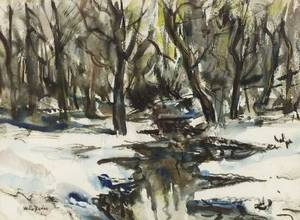 Walter Emerson Baum American 18841956 Woodland Stream Winter