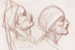 Theophile Alexandre Steinlen SwissFrench 18591923 Sketch of Heads