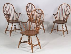 Set of Four Bowback Windsor Armchairs
