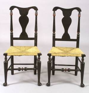 Pair of Queen Anne Turned Side Chairs