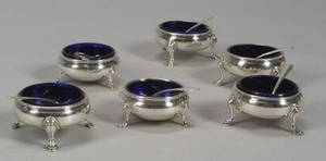 Six Sterling Silver Salts with Cobalt Blue Glass Liners and Ten Sterling Salt Spoons