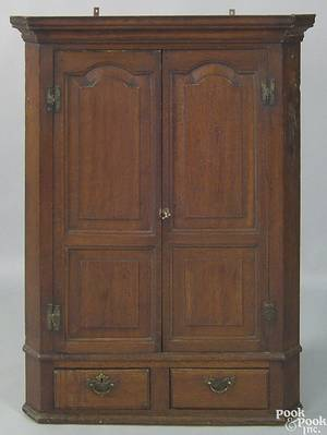 English oak hanging cupboard late 18th c