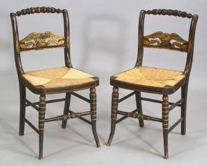 Pair of Gilt Stencil Decorated Fancy Chairs