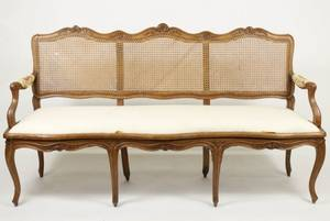 French Provincial Fruitwood Caned Settee