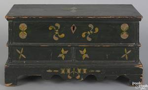 Rare Pennsylvania or New York painted miniature blanket chest dated 1827