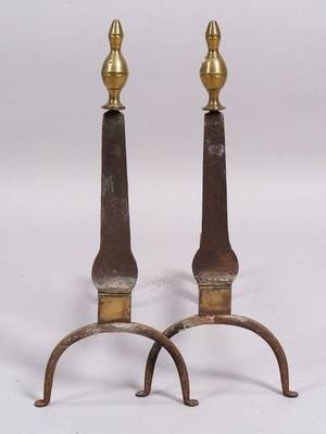 Pair of Iron and Brass Knifeblade Andirons