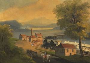 American School 19th Century Primitive Landscape with Train and Troops