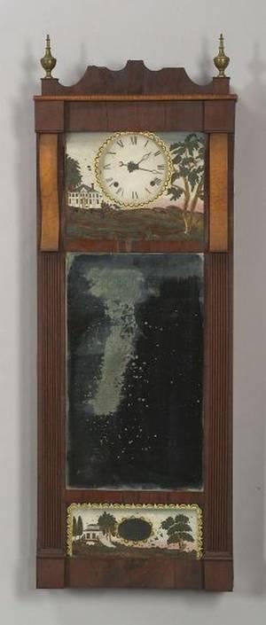 Federal Mahogany and Tiger and Birdseye Maple Veneer Long Wall Mirror Clock