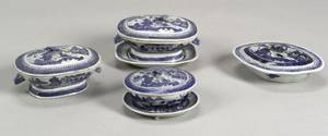 Four Small Covered Canton Porcelain Serving Dishes