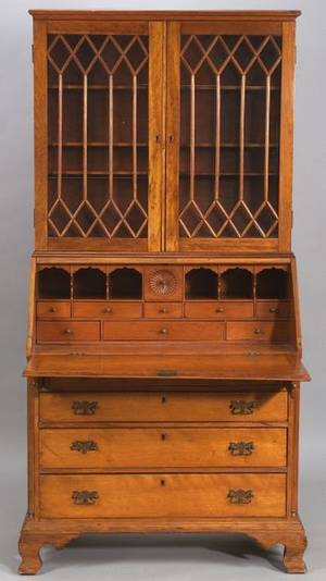 Chippendale Cherry Carved Desk Bookcase