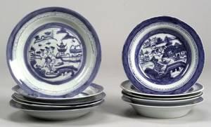 Ten Assorted Canton Porcelain Soup Plates
