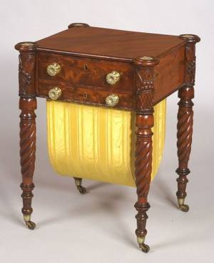 Rare Classical Mahogany Carved and Mahogany Veneer Childs Work Table