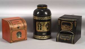 Three Lithographed Tin Tea and Spice Storage Bins