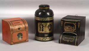 Three Lithographed Tin Tea and Spice Storage Bins