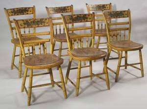 Set of Six Paint Decorated Windsor Side Chairs