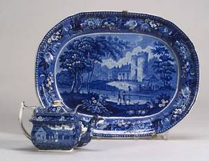 Blue Transfer Decorated Staffordshire Platter and Teapot