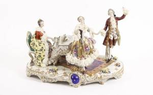 16 Dresden Lace Volkstedt Figural Grouping Piano