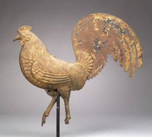 Gilt Cast Iron and Sheet Iron Rooster Weather Vane