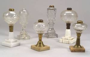 Six Colorless Cut and Pressed Glass Fluid Lamps