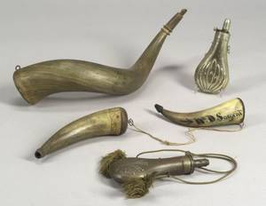 Three Powder Horns and Two Metal Shot Flasks