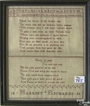 Silk on linen sampler dated 1836 wrought by Harriet Richards