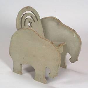 Gray Painted Pine Childs Elephant Chair