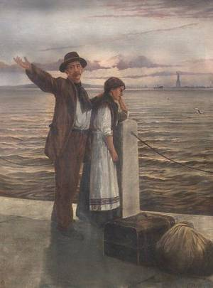 American School 20th Century Immigrants with View of New York Harbor