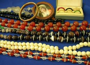 Seven Strands of Hardstone and Other Beads Portrait Miniature Etc