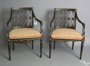 Pair of Regency style painted armchairs