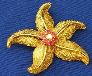 18kt Gold Ruby and Diamond Starfish Brooch