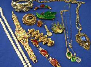 Assortment of Costume Jewelry and a Rhinestone Watch