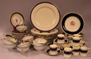 Set of Twelve Lenox Jefferson Pattern Porcelain Dinner Plates a Set of Twelve Royal Bayreuth Cups and Saucers and a Thirtysix Piece