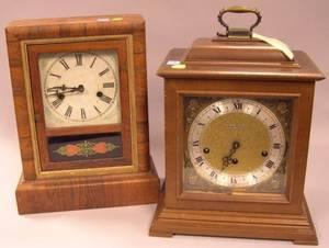 Ansonia Clock Co Rosewood Veneer Shelf Clock and a Seth Thomas Mahogany Bracket Clock