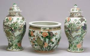 Pair of Large Chinese Export Porcelain Famille Verte Palette Covered Urns and a Chinese Export Porcelain Jardiniere