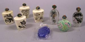 Four Asian Engraved Bone Snuffs Two Interior Painted Glass Snuffs a Porcelain Snuff and a Pekingstyle Cobalt Blue Glass Snuff