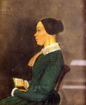 Framed Profile Portrait of a Woman with a Book