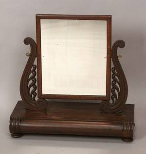 Classical Mahogany Carved and Mahogany Veneer Dressing Mirror