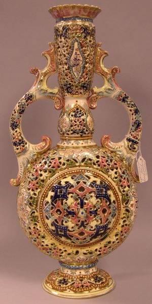 J Fischer Gilt and Enamel Decorated Reticulated Ceramic Vase