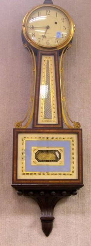 E Howard  Co Mahogany and Eglomise Banjo Wall Timepiece