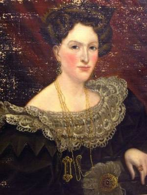 Framed Oil Portrait of a Lady with a Lace Collar