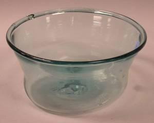 Aqua Blown Glass Milk Bowl
