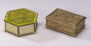 Tiffany Studios Gilt Bronze and Caramel Slag Glass Pine Needle Pattern Box and a Tiffany Furnaces Hexagonal Gilt Bronze Favrile and A